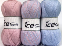 Lot of 3 x 100gr Skeins Ice Yarns BABY OMBRE Yarn Light Pink Light Lilac
