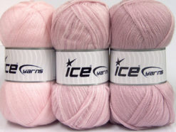 Lot of 3 x 100gr Skeins Ice Yarns BABY OMBRE Yarn Baby Pink Rose Pink