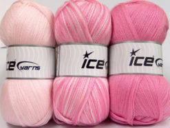 Lot of 3 x 100gr Skeins Ice Yarns BABY OMBRE Yarn Pink Light Pink
