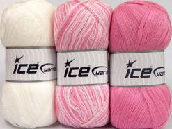Lot of 3 x 100gr Skeins Ice Yarns BABY OMBRE Hand Knitting Yarn White Pink