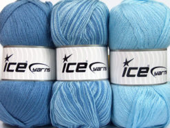 Lot of 3 x 100gr Skeins Ice Yarns BABY OMBRE Hand Knitting Yarn Blue Baby Blue