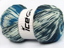 Lot of 2 x 150gr Skeins Ice Yarns JACQUARD WOOL (30% Wool) Yarn Blue Anthracite Black White