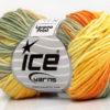 Lot of 8 Skeins Ice Yarns LORENA PRINT (55% Cotton) Yarn Yellow Gold Orange Khaki