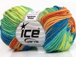 Lot of 8 Skeins Ice Yarns LORENA PRINT (55% Cotton) Yarn Copper Light Brown Blue Turquoise Green Shades