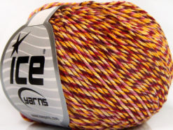 Lot of 8 Skeins Ice Yarns LORENA COLORFUL (55% Cotton) Yarn Red Yellow Shades Pink