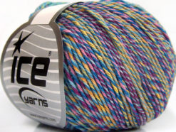 Lot of 8 Skeins Ice Yarns LORENA COLORFUL (55% Cotton) Yarn Blue Shades Green Pink Yellow Lilac
