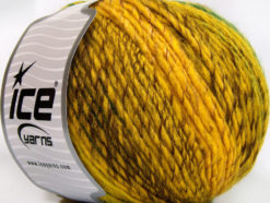 Lot of 4 x 100gr Skeins Ice Yarns ROSETO WORSTED (30% Wool) Yarn Yellow Gold Brown Green