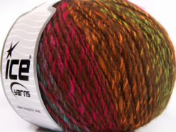 Lot of 4 x 100gr Skeins Ice Yarns ROSETO WORSTED (30% Wool) Yarn Brown Fuchsia Turquoise Gold Green