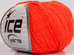 Lot of 4 Skeins Ice Yarns AMIGURUMI COTTON (60% Cotton) Yarn Neon Orange