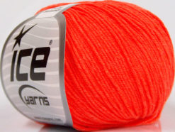 Lot of 8 Skeins Ice Yarns BABY SUMMER (60% Cotton) Yarn Neon Orange