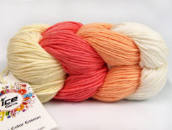 Lot of 2 x 100gr Skeins Ice Yarns ART COLOR COTTON (50% Cotton) Yarn Cream Salmon Light Salmon White
