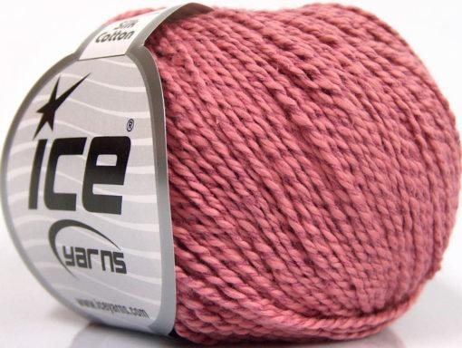Lot of 4 Skeins Ice Yarns SILK COTTON (32% Silk 68% Cotton) Yarn Rose Pink