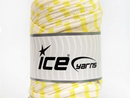 250 gr ICE YARNS UPCYCLED FABRIC 250 (95% Cotton 5% Elastan) Yarn Cream Neon Green