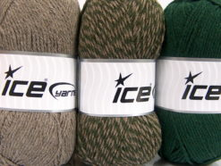 Lot of 3 x 100gr Skeins Ice Yarns OMBRE Hand Knitting Yarn Camel Dark Khaki