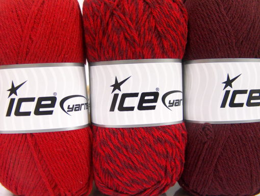Lot of 3 x 100gr Skeins Ice Yarns OMBRE Hand Knitting Yarn Red Maroon