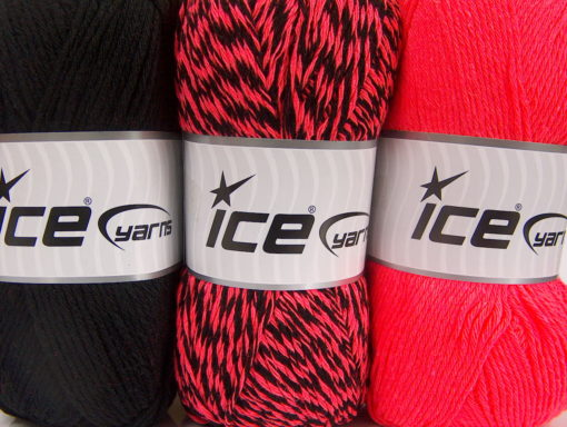 Lot of 3 x 100gr Skeins Ice Yarns OMBRE Hand Knitting Yarn Black Neon Pink