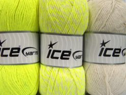 Lot of 3 x 100gr Skeins Ice Yarns OMBRE Hand Knitting Yarn Neon Yellow Ecru