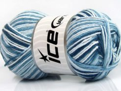 Lot of 4 x 100gr Skeins Ice Yarns NATURAL COTTON COLOR (100% Cotton) Yarn Blue Shades White