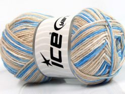 Lot of 4 x 100gr Skeins Ice Yarns NATURAL COTTON COLOR (100% Cotton) Yarn Blue Beige Cream
