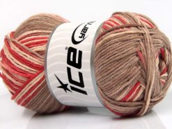 Lot of 4 x 100gr Skeins Ice Yarns NATURAL COTTON COLOR (100% Cotton) Yarn Tomato Red Camel