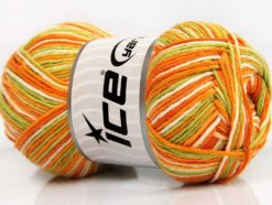 Lot of 4 x 100gr Skeins Ice Yarns NATURAL COTTON COLOR (100% Cotton) Yarn Green Orange Cream