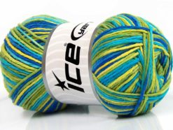 Lot of 4 x 100gr Skeins Ice Yarns NATURAL COTTON COLOR (100% Cotton) Yarn Green Shades Blue Shades