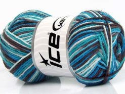 Lot of 4 x 100gr Skeins Ice Yarns NATURAL COTTON COLOR (100% Cotton) Yarn Turquoise Blue Maroon