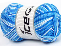 Lot of 4 x 100gr Skeins Ice Yarns NATURAL COTTON COLOR (100% Cotton) Yarn Blue Shades