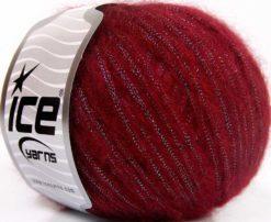 Lot of 8 Skeins Ice Yarns ROCK STAR METALLIC (25% Wool) Yarn Burgundy