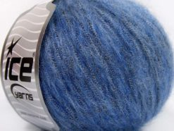 Lot of 8 Skeins Ice Yarns ROCK STAR METALLIC (25% Wool) Yarn Jeans Blue