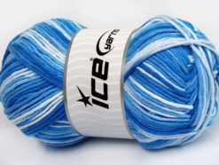 Lot of 2 x 200gr Skeins Ice Yarns NATURAL COTTON COLOR WORSTED (100% Cotton) Yarn Blue Shades