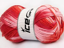 Lot of 2 x 200gr Skeins Ice Yarns NATURAL COTTON COLOR WORSTED (100% Cotton) Yarn Red Salmon Pink
