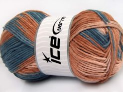 Lot of 2 x 200gr Skeins Ice Yarns NATURAL COTTON COLOR WORSTED (100% Cotton) Yarn Jeans Blue Camel Light Salmon
