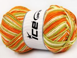 Lot of 2 x 200gr Skeins Ice Yarns NATURAL COTTON COLOR WORSTED (100% Cotton) Yarn Orange Green Shades White