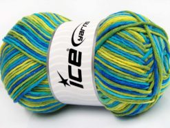 Lot of 2 x 200gr Skeins Ice Yarns NATURAL COTTON COLOR WORSTED (100% Cotton) Yarn Green Shades Blue Shades