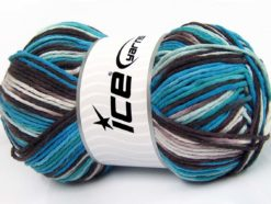 Lot of 2 x 200gr Skeins Ice Yarns NATURAL COTTON COLOR WORSTED (100% Cotton) Yarn Maroon Blue Turquoise White