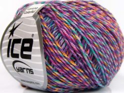 Lot of 8 Skeins Ice Yarns LORENA COLORFUL (55% Cotton) Yarn Lilac Shades Light Green Gold Cream