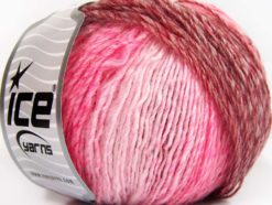 Lot of 8 Skeins Ice Yarns ROSETO (30% Wool) Yarn Pink Shades Red Grey Shades