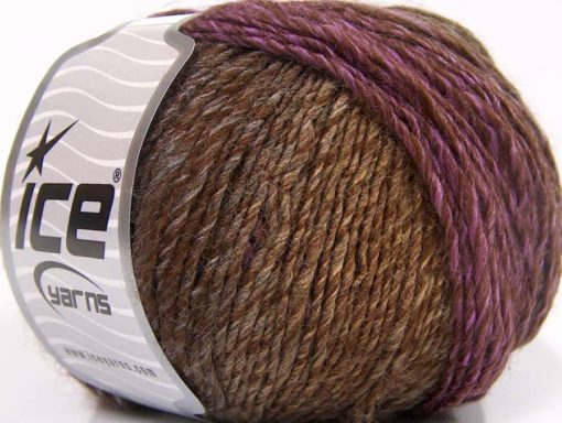Lot of 8 Skeins Ice Yarns ROSETO (30% Wool) Yarn Brown Shades Purple