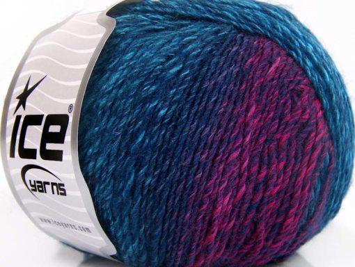 Lot of 8 Skeins Ice Yarns ROSETO (30% Wool) Yarn Turquoise Shades Navy Fuchsia