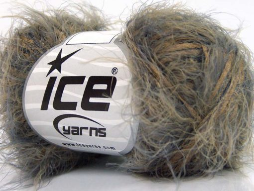 Lot of 8 Skeins Ice Yarns SALE EYELASH BLEND Hand Knitting Yarn Camel Grey