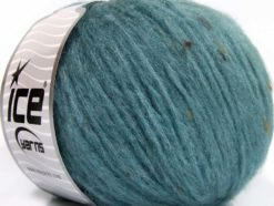 Lot of 8 Skeins Ice Yarns SOFTAIR TWEED (4% Viscose) Yarn Light Turquoise