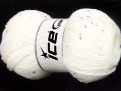 Lot of 4 x 100gr Skeins Ice Yarns CHAIN PAILLETTE (2% Paillette) Yarn White