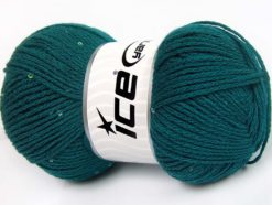 Lot of 4 x 100gr Skeins Ice Yarns CHAIN PAILLETTE (2% Paillette) Yarn Emerald Green