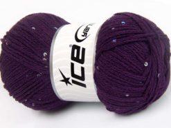 Lot of 4 x 100gr Skeins Ice Yarns CHAIN PAILLETTE (2% Paillette) Yarn Purple