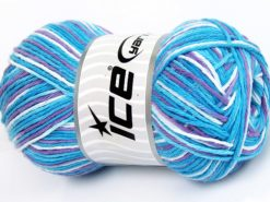 Lot of 4 x 100gr Skeins Ice Yarns NATURAL COTTON COLOR (100% Cotton) Yarn Turquoise Shades Lilac