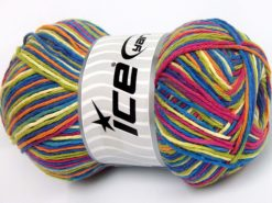 Lot of 4 x 100gr Skeins Ice Yarns NATURAL COTTON COLOR (100% Cotton) Yarn Blue Shades Orange Green Pink
