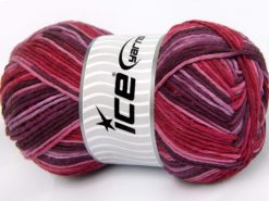 Lot of 2 x 200gr Skeins Ice Yarns NATURAL COTTON COLOR WORSTED (100% Cotton) Yarn Maroon Pink Shades Red