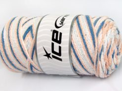 Lot of 2 x 200gr Skeins Ice Yarns SAVER CHAIN COLOR Yarn Light Salmon Light Blue White