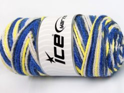 Lot of 2 x 200gr Skeins Ice Yarns SAVER CHAIN COLOR Yarn Blue Shades Yellow White